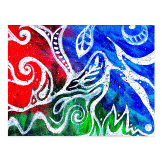 White Doodle Abstract Painting Postcard