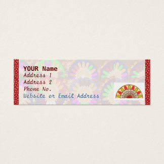 White Dot Spectrum on Red : Border Grace Template Mini Business Card