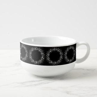 White Dots And Lines On Black Soup Mug