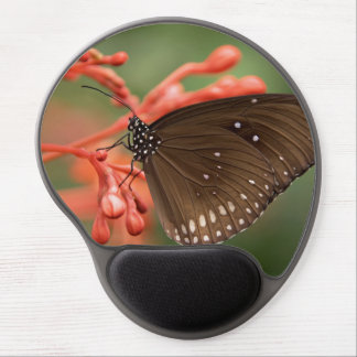 white dots brown butterfly on red flowers, girly gel mouse pad
