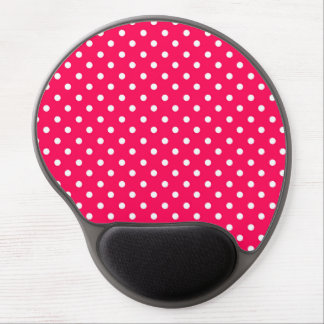 White Dots on Deep Pink Gel Mouse Pads