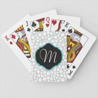 White Dots on Gray, Black/Aqua Monogrammed Playing Cards