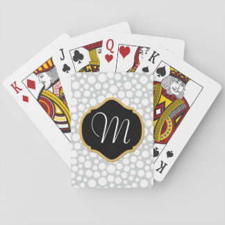 White Dots on Gray, Black/Mustard Monogrammed Poker Deck