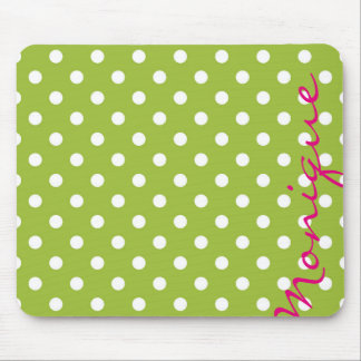 white dots over spring green background with name mouse pad