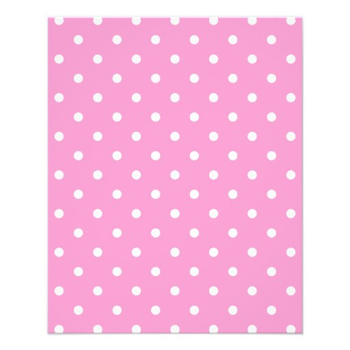 White Dots, Pink Polka Dots Pattern. Custom Flyer