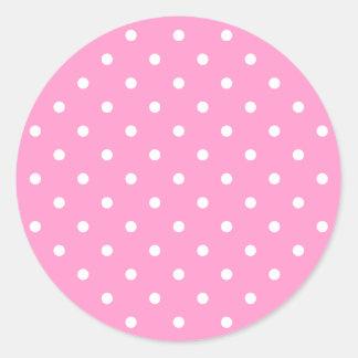 White Dots, Pink Polka Dots Pattern. Round Sticker
