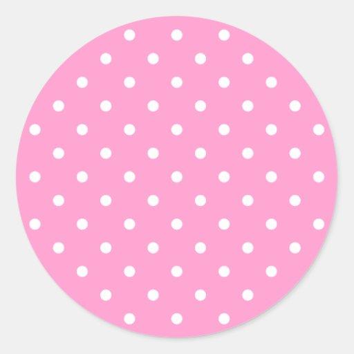 White Dots, Pink Polka Dots Pattern. Round Stickers