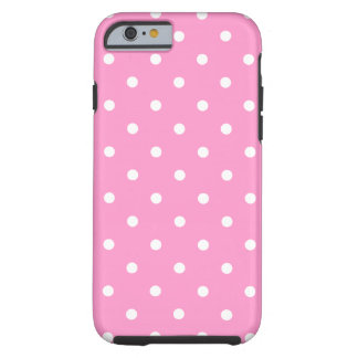 White Dots, Pink Polka Dots Pattern. Tough iPhone 6 Case