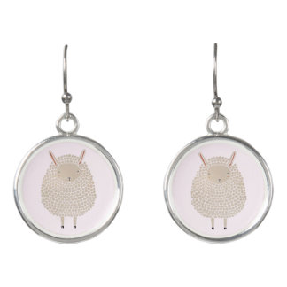 White Dots Round Sleeping Sheep Earrings