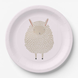 White Dots Round Sleeping Sheep Paper Plate