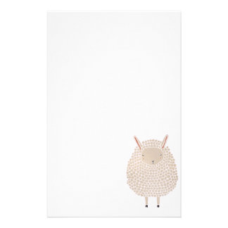White Dots Round Sleeping Sheep Stationery