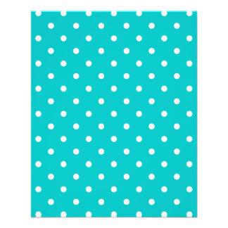 White dots, Teal Polka Dot Pattern. 11.5 Cm X 14 Cm Flyer