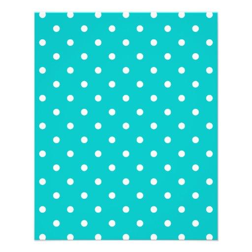 White dots, Teal Polka Dot Pattern. Flyers