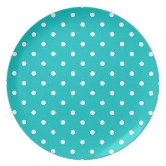 White dots, Teal Polka Dot Pattern. Dinner Plates