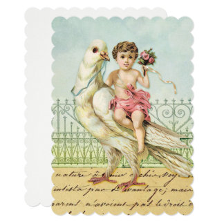 White Dove and Cherub Baby Shower Card