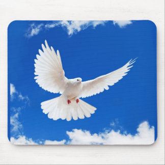 White Dove Bird Peace Love Flying Sky Mouse Pad