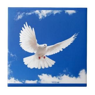 White Dove Bird Peace Love Flying Sky Small Square Tile