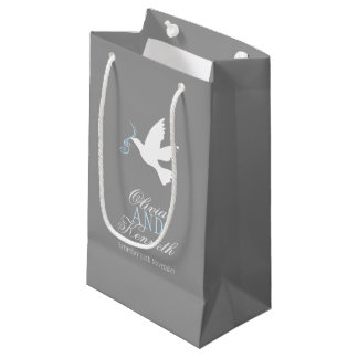 White dove blue grey wedding favor custom bags