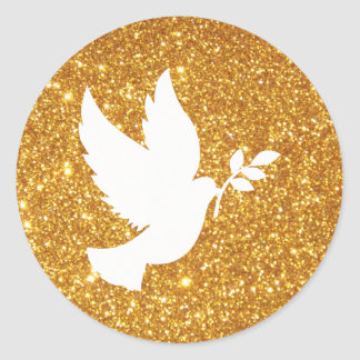White Dove Gold Glitter Classic Round Sticker