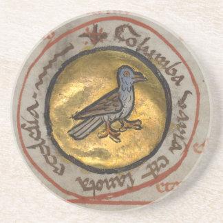 White Dove in a Gold Medallion Coaster