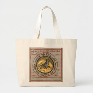 White Dove in a Gold Medallion Jumbo Tote Bag