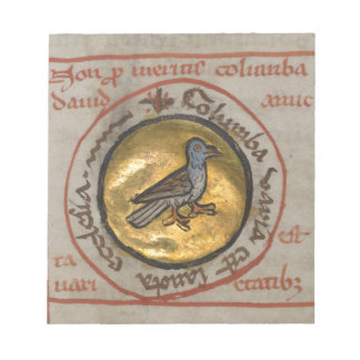 White Dove in a Gold Medallion Notepad