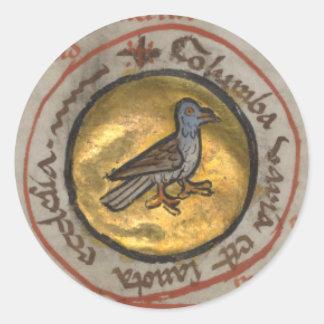 White Dove in a Gold Medallion Round Sticker