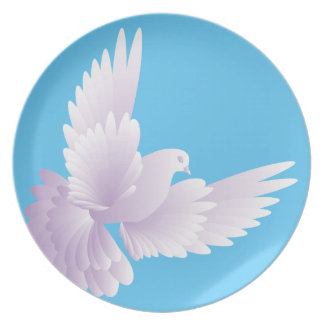 white dove in blue sky 3 party plate