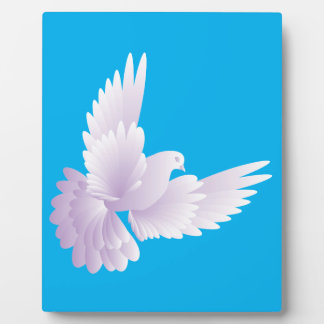 white dove in blue sky 3 plaque