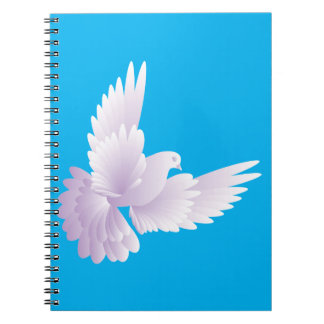 white dove in blue sky 3 spiral notebook