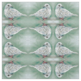 White Dove in the Pine Pastel Art Pattern Fabric