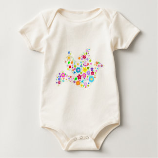 White Dove of Flowers Baby Bodysuits