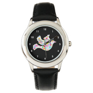 White Dove of Flowers Wrist Watches