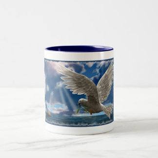 White Dove Of Peace Two-Tone Coffee Mug