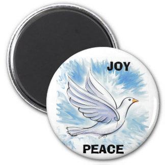White Dove, PEACE, JOY 6 Cm Round Magnet