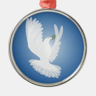 White Dove Silver-Colored Round Decoration