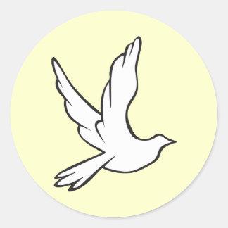 White Dove Round Sticker