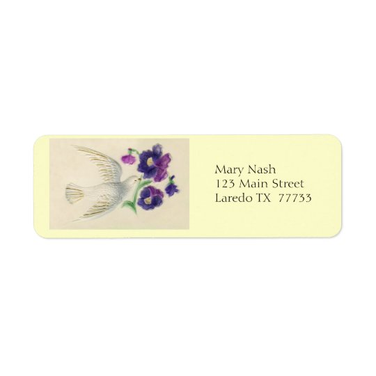 White Dove with flowers Return Address Label