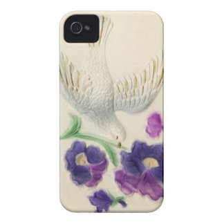White dove with purple flowers iPhone 4 cases