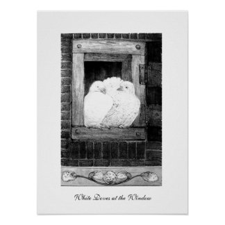 WHITE DOVES AT THE WINDOW, black and white Print