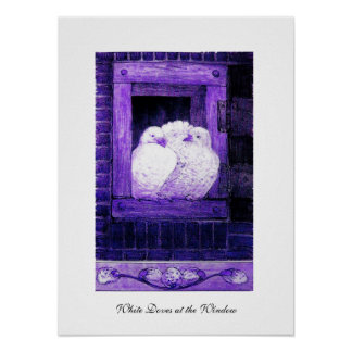WHITE DOVES AT THE WINDOW, blue purple Print
