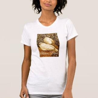 WHITE DOVES IN BROWN SEPIA  / NATURE LOVER TSHIRT