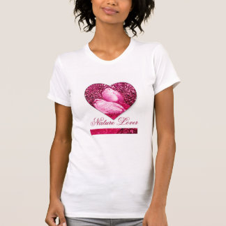 WHITE DOVES IN PINK FUCHSIA   / NATURE LOVER HEART SHIRTS
