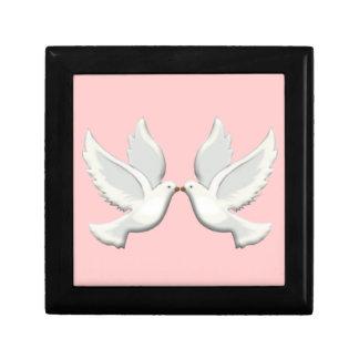 White Doves On Pink Gift Box