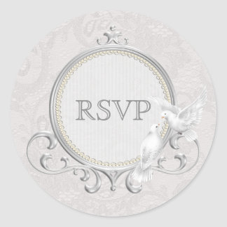 White Doves & Paisley Lace RSVP Wedding Round Sticker
