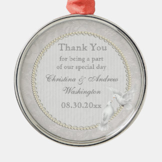 White Doves & Paisley Lace Thank You Wedding Favor Metal Ornament