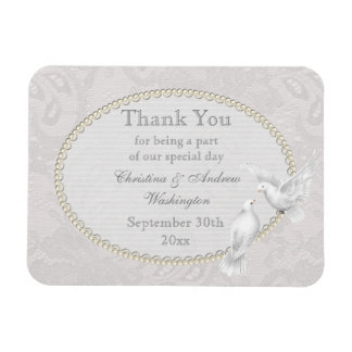 White Doves & Paisley Lace Thank You Wedding Favor Rectangle Magnets