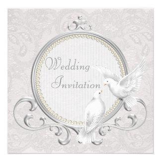 White Doves Paisley Lace Wedding Invitation