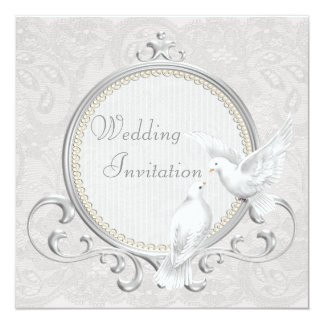 White Doves & Paisley Lace Wedding Invitation