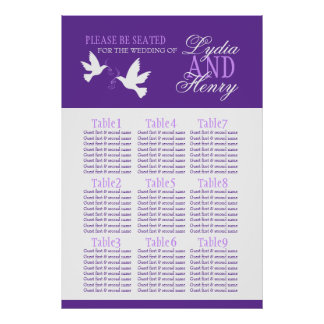 white doves purple wedding seating table plan 1-9 poster
